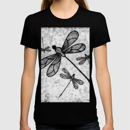 Bold black and white embroidered dragonflies on texture T-shirt