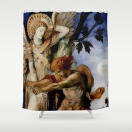 """Gustave Moreau """"Jacob and the Angel"""" (1878) Shower Curtain"""