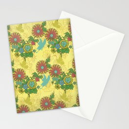 Garden Charm 8:  butterflies and blooms in fresh boho colors Stationery Cards