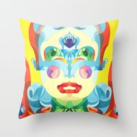 i woke up like this Throw Pillows featuring I Woke up like This by Anai Greog