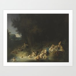 Rembrandt - Diana Bathing with her Nymphs with Actaeon and Callisto Art Print