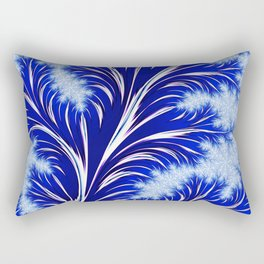 Abstract Blue Christmas Tree Branch with White Snowflakes Rectangular Pillow