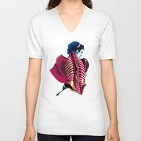 anatomy V-neck T-shirts featuring Anatomy 07a by Alvaro Tapia Hidalgo
