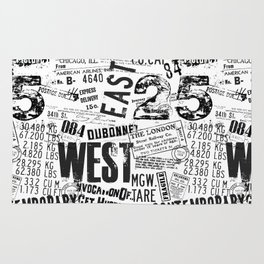 East West Grunge Distressed black white #urban typography Rug