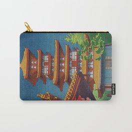 Japanese Woodblock Print Vintage Asian Art Colorful woodblock prints Pagoda Shinto Shrine Carry-All Pouch