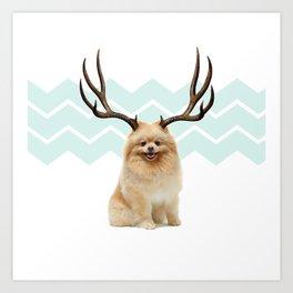 Puppy&Antlers Art Print