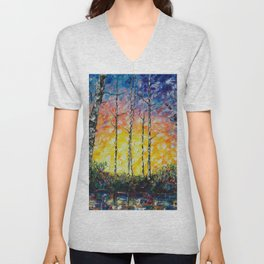 Morning Breaks - Sunrise Palette Knife  Unisex V-Neck
