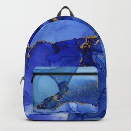 Abstract Iris Blue Floral Ink Backpack
