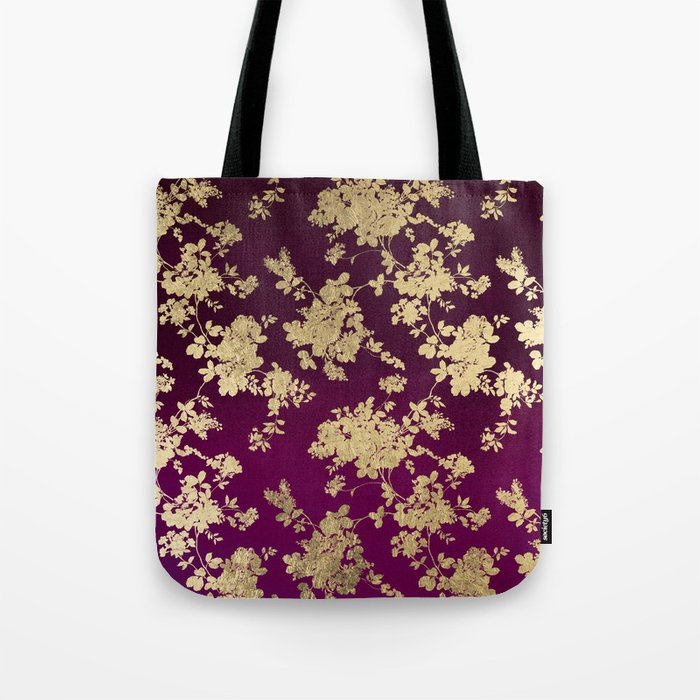 Chic faux gold burgundy ombre watercolor floral Tote Bag