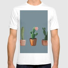 Three Cacti On Blue Background MEDIUM White Mens Fitted Tee