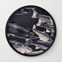 swim Wall Clocks featuring Swim by Marte Stromme