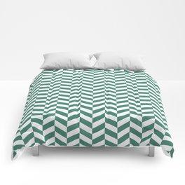 Viridian Green Herringbone Pattern Design Comforters
