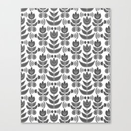 Black and White Folk Flowers Canvas Print