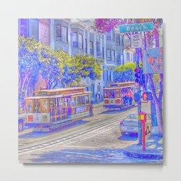 San Francisco neon effect Metal Print