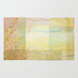 Blossoms Trees Pink Yellow Abstract Rug