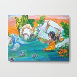 Ochun Bathing Metal Print