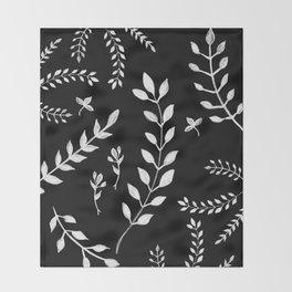 White Leaves Pattern #3 #drawing #decor #art #society6 Throw Blanket