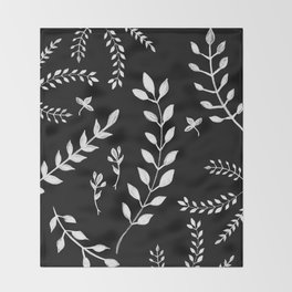 White Leaves Pattern #3 #drawing #decor #art #society6 Throw Blanket