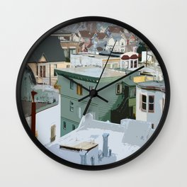 San Francisco Houses Wall Clock
