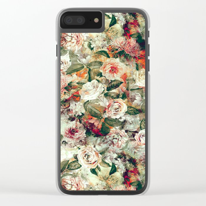Floral Pattern RPE121 Clear iPhone Case
