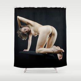 8288s-KMA Nude Art Model on Knees Looking Back Feet Crossed Arm Up Shower Curtain
