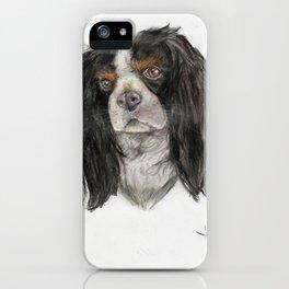 Cavalier King Charles spaniel dog original art print iPhone Case