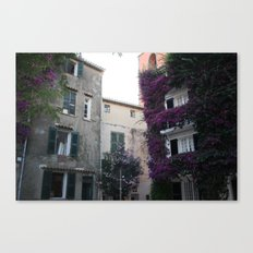 with purple flowers overgrown house in Saint Tropez France in Summer Canvas Print