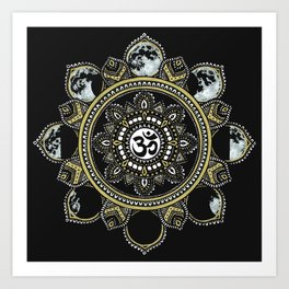 Om Moon Phase Mandala Black Art Print