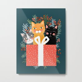 Cats cute christmas xmas tree holiday funny cat art cat lady gift unique pet gifts Metal Print