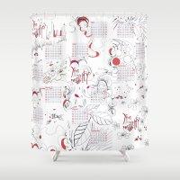 calendar Shower Curtains featuring Calendar mess by Dreamy Me