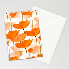 Orange Poppies On A White Background #decor #society6 #buyart Stationery Cards