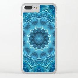 Blue mandala . Kaleidoscope . Winter . Clear iPhone Case