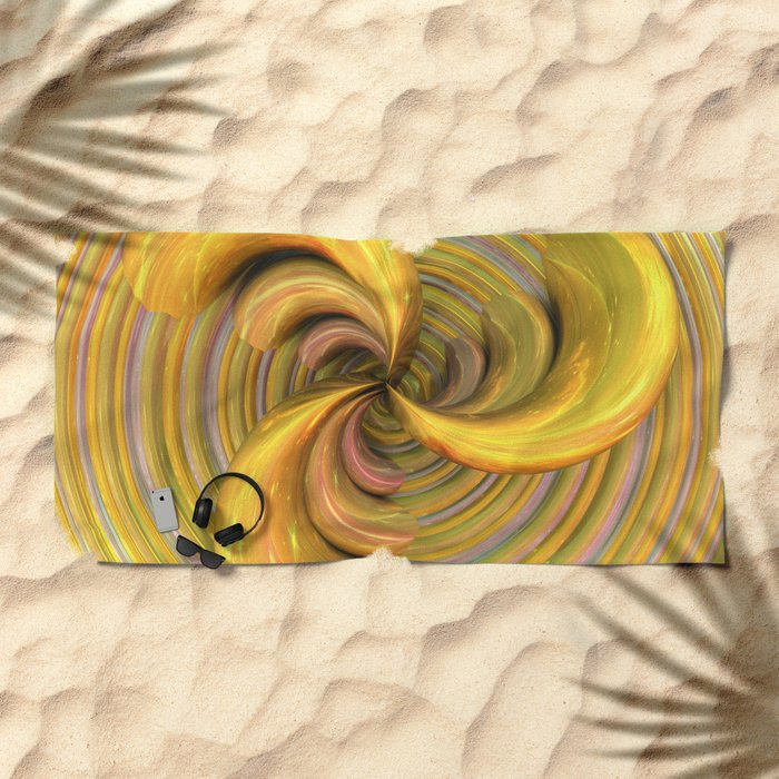 Golden Ribbons Beach Towel