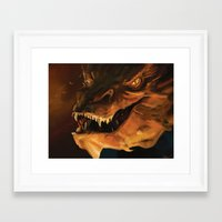 smaug Framed Art Prints featuring Smaug by Wisesnail