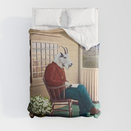 Mr Garwood Goat Reading on the Porch Duvet Cover