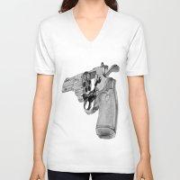 gun V-neck T-shirts featuring gun by VoicesRantOn