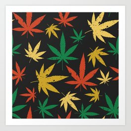 Colorful canabis leafs pattern Art Print