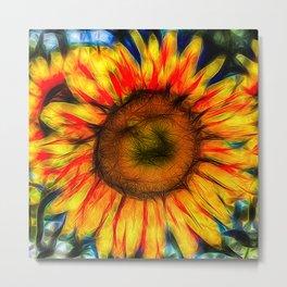 Single Sunflower Art Metal Print