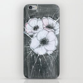 Anemone Flowers illustration gray neutral colors decor iPhone Skin