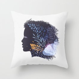Face female silhouette floral in blue tones Throw Pillow