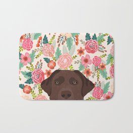 Chocolate Lab floral dog head cute labrador retriever must have pure breed dog gifts Bath Mat