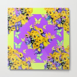 Spring Butterfly Bouquet in Lilac & Yellow Metal Print
