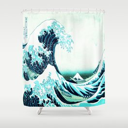 the great wave : aqua teal Shower Curtain