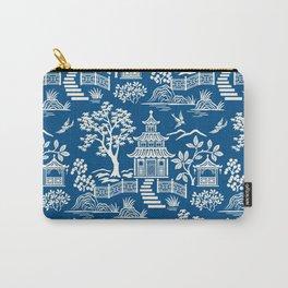 Chinoiseie Pagoda Dark blue Carry-All Pouch