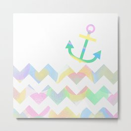 Chevron Sea and Pastel Anchor Metal Print