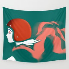 Moped Girl Wall Tapestry