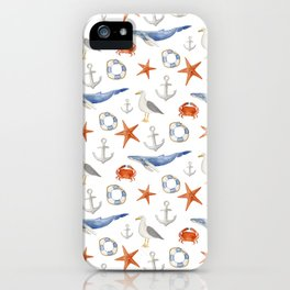 Watercolor nautical pattern iPhone Case