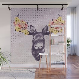 Flower Blossom Antlers Moose Head Wall Mural