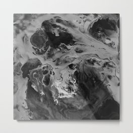 Black and Gray Moon Crater Abstract Fluid Painting Metal Print
