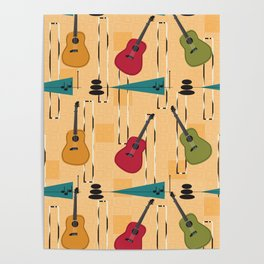 Mid Century Modern Guitar Poster
